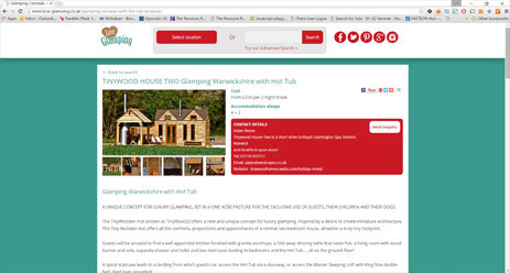 The Love Glamping website
